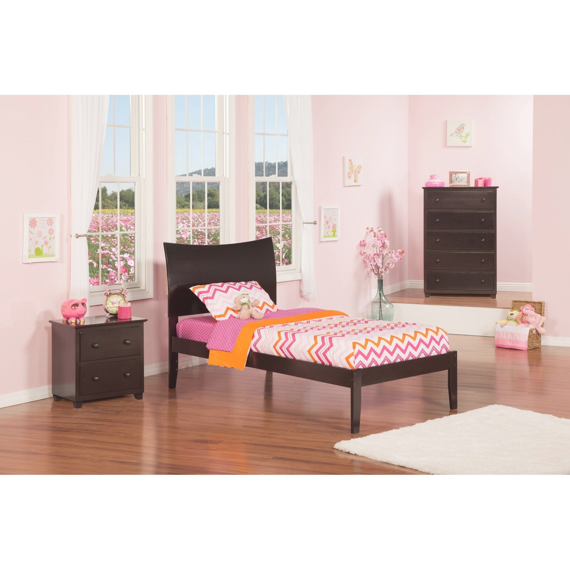 Atlantic Furniture Soho Extra Long Twin Sleigh Bed with Extra Long Twin Bed