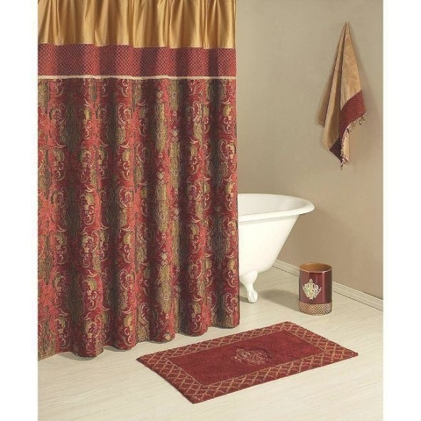 Austin Horn Fabric Shower Curtain ~Montecito~ Red Burgundy in Brown And Gold Bathroom