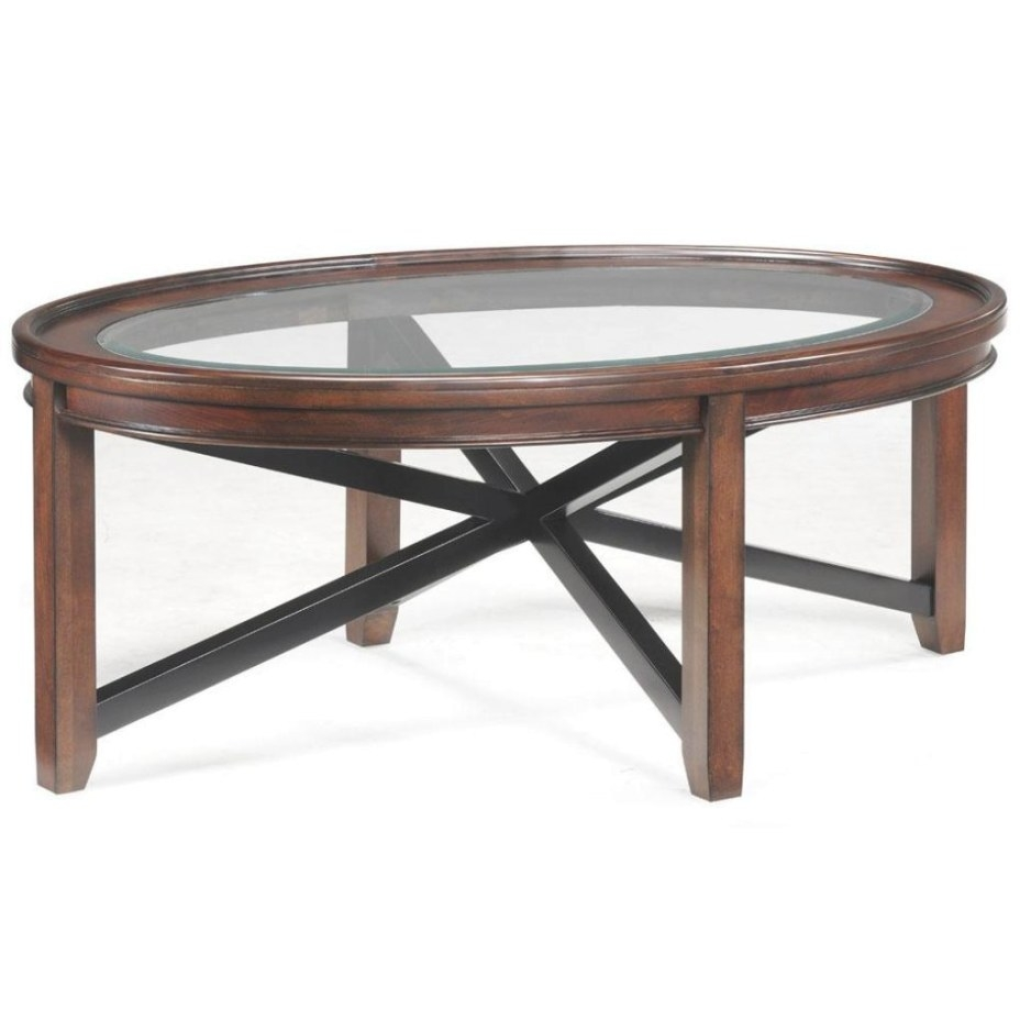 Axial Wood & Glass Oval Cocktail Table | Coffee Tables for Wood And Glass Coffee Table