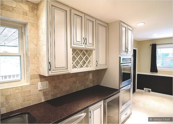 Ba1040 - Travertine | Travertine Backsplash, Backsplash with Update Brown Cabinets In Kitchen