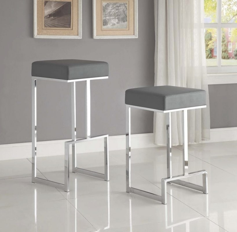 Bar Stools: Metal Fixed Height - Contemporary Chrome And intended for Counter Height Bar Stools