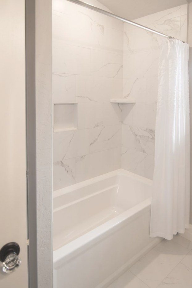 Bath Surround And Flooring: Tile, Mayfair 12X24, Statuario within 12X24 Tile In Small Bathroom