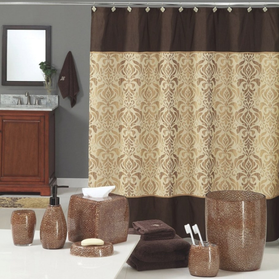 Bathroom Curtain Ideas To Look Attractive | Cool Ideas For in Brown And Gold Bathroom