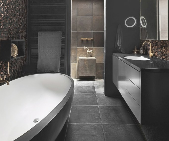 Bathroom Edit: Inspirational Designs throughout Black And Gray Bathroom