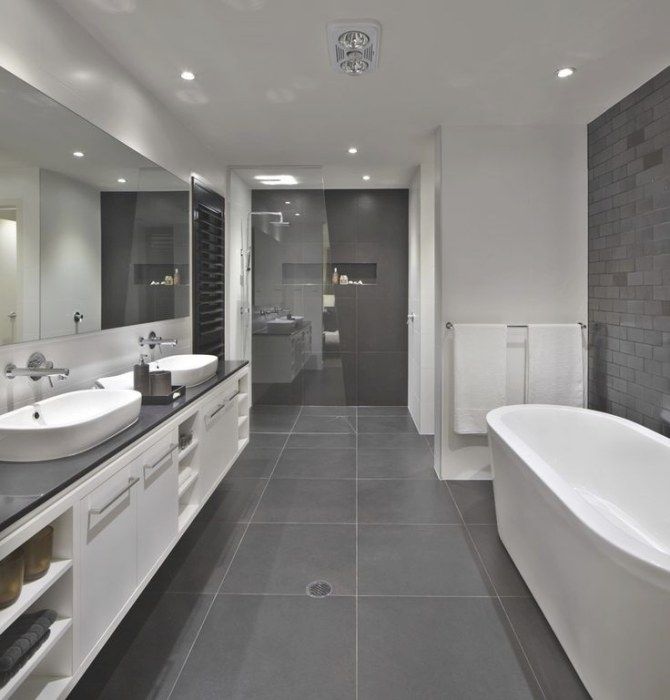 Bathroom: Floor To Roof Charcoal Tiles With A Black within Black And Gray Bathroom