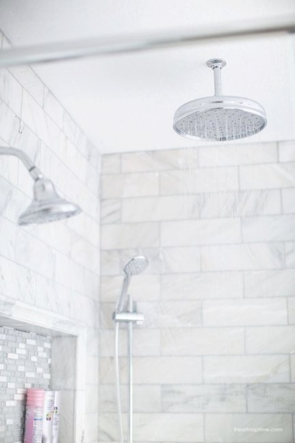 Bathroom Makeover | Gray, White Bathroom, Marble Tile in White Marble Tile Bathroom