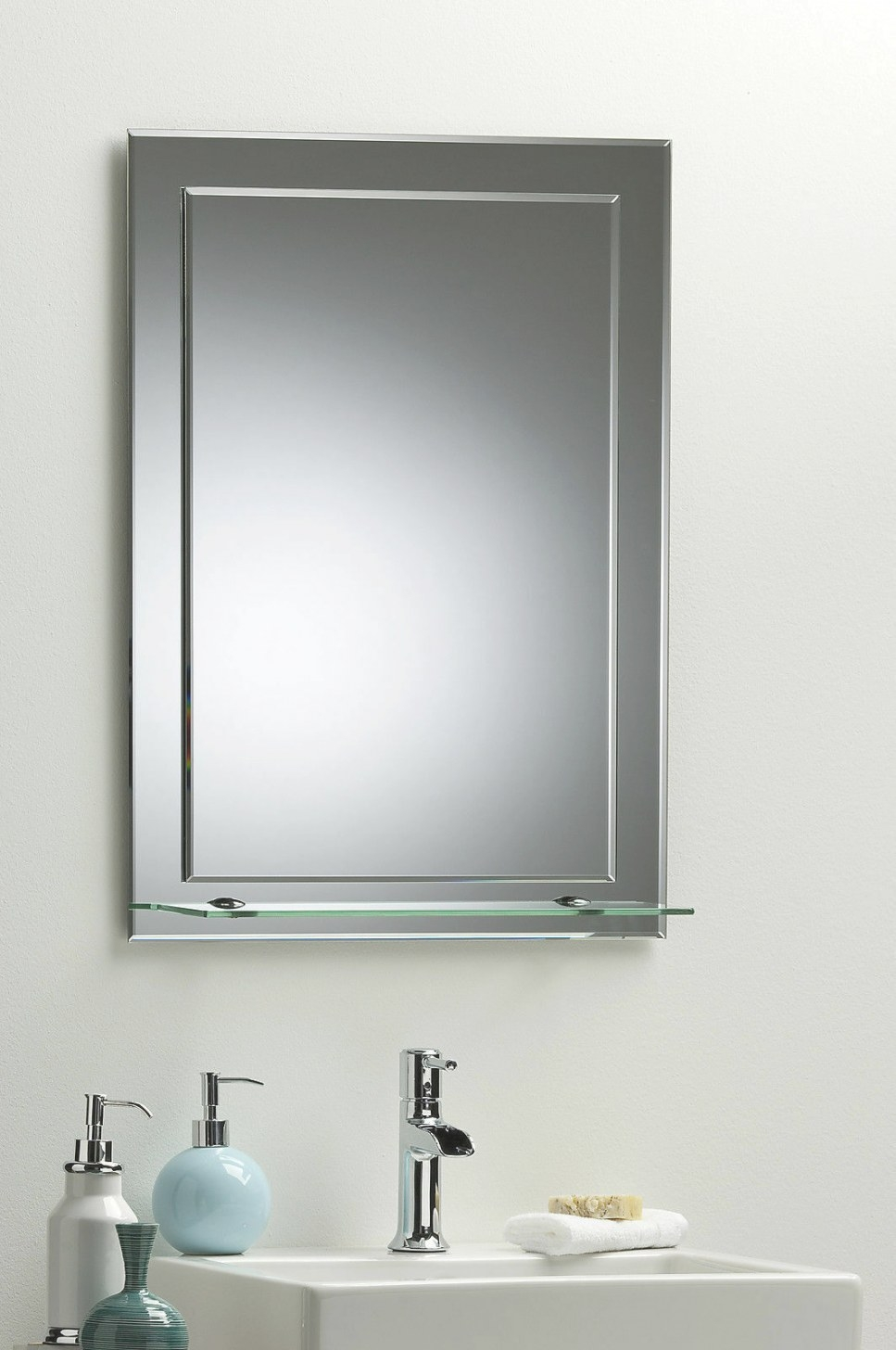 Bathroom Mirror Elegant Rectangular W/ Shelf 70Cm X 50Cm with Rectangular Mirrors For Bathroom