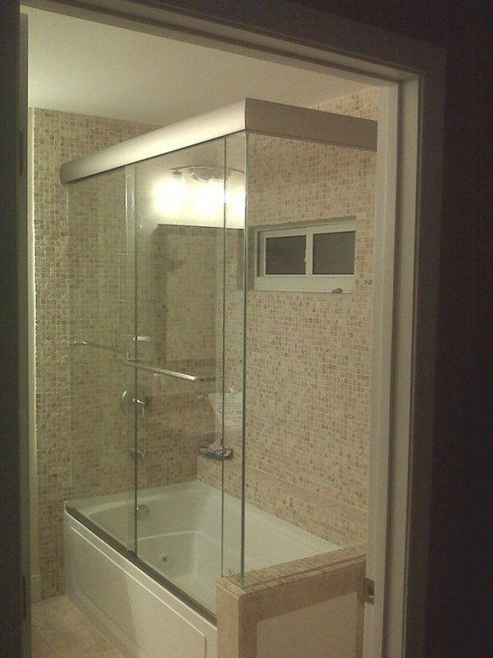Bathroom, : Semi Frameless 3/4 Shower Glass Door With intended for 3/4 Bathroom Layout