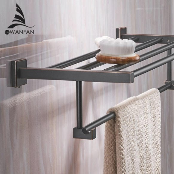Bathroom Shelves Wall Mounted Solid Brass Vintage Style throughout Towel Racks For Small Bathrooms