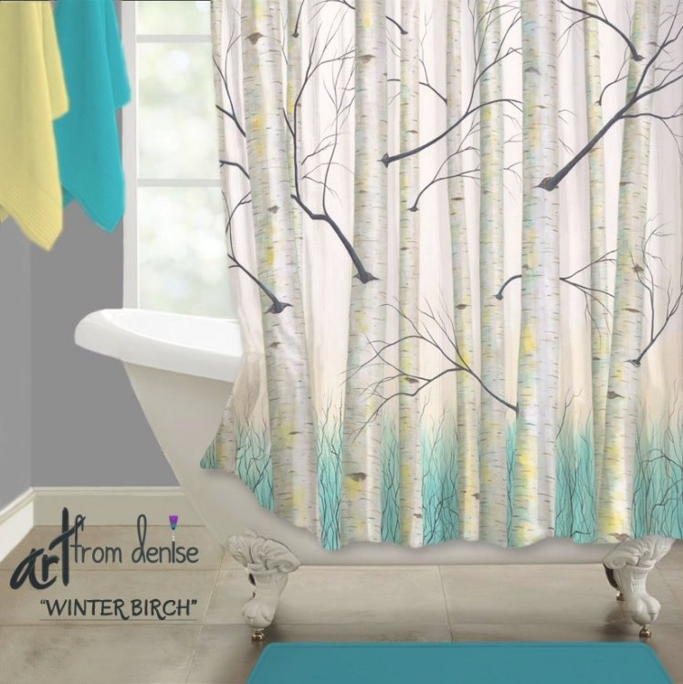 Bathroom Shower Curtain, Blue Yellow Bathroom Decor, Birch with Teal And Brown Bathrooms