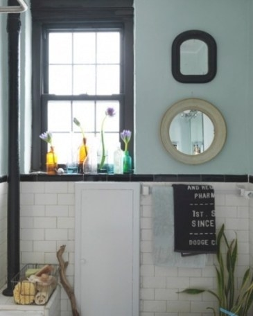 Bathroom: Subway Tile With Dark Brown Trim And Light Teal regarding Teal And Brown Bathrooms