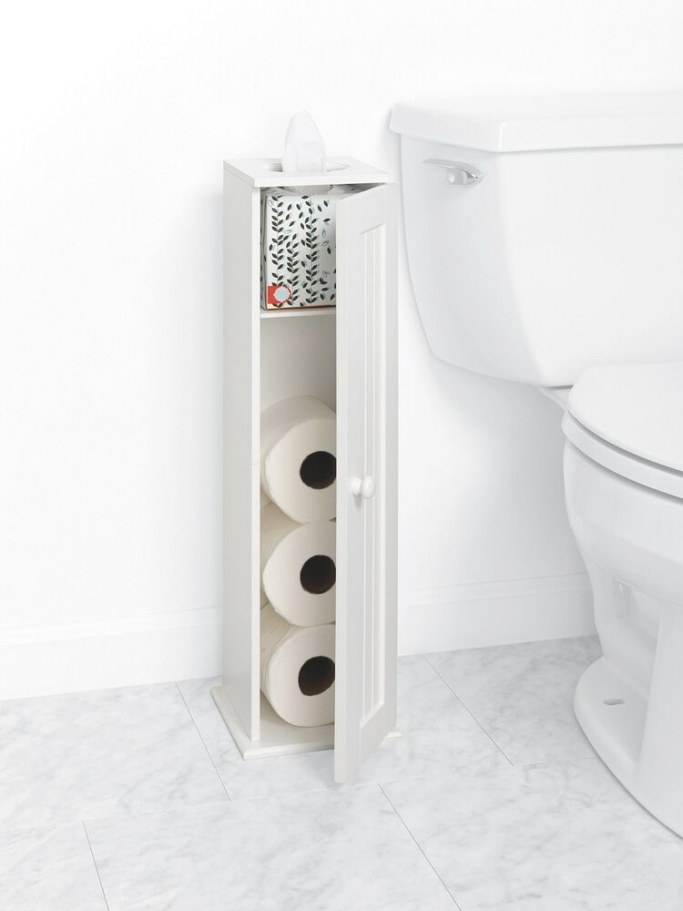Bathroom Tissue Stand Cabinet Storage White Wood Cottage regarding Where To Put Toilet Paper Holder In Small Bathroom