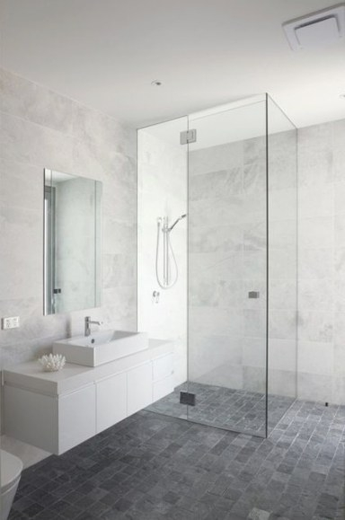 Bathroom: White/Grey Marble-Look Wall Tiles, Dark Grey throughout White Marble Tile Bathroom