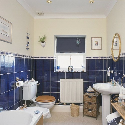 Bathroom With Blue Tiles And White Suite | Housetohome.co.uk within Cream And White Bathroom