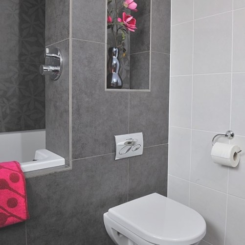 Bathroom With Grey Tiles And Pink Accents | Bathroom with regard to Pink And Gray Bathroom
