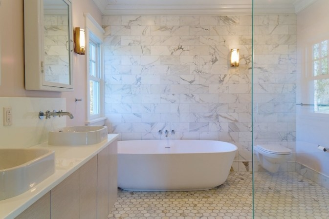 Bathroom With Marble Accent Wall - Transitional - Bathroom in Accent Walls In Bathrooms