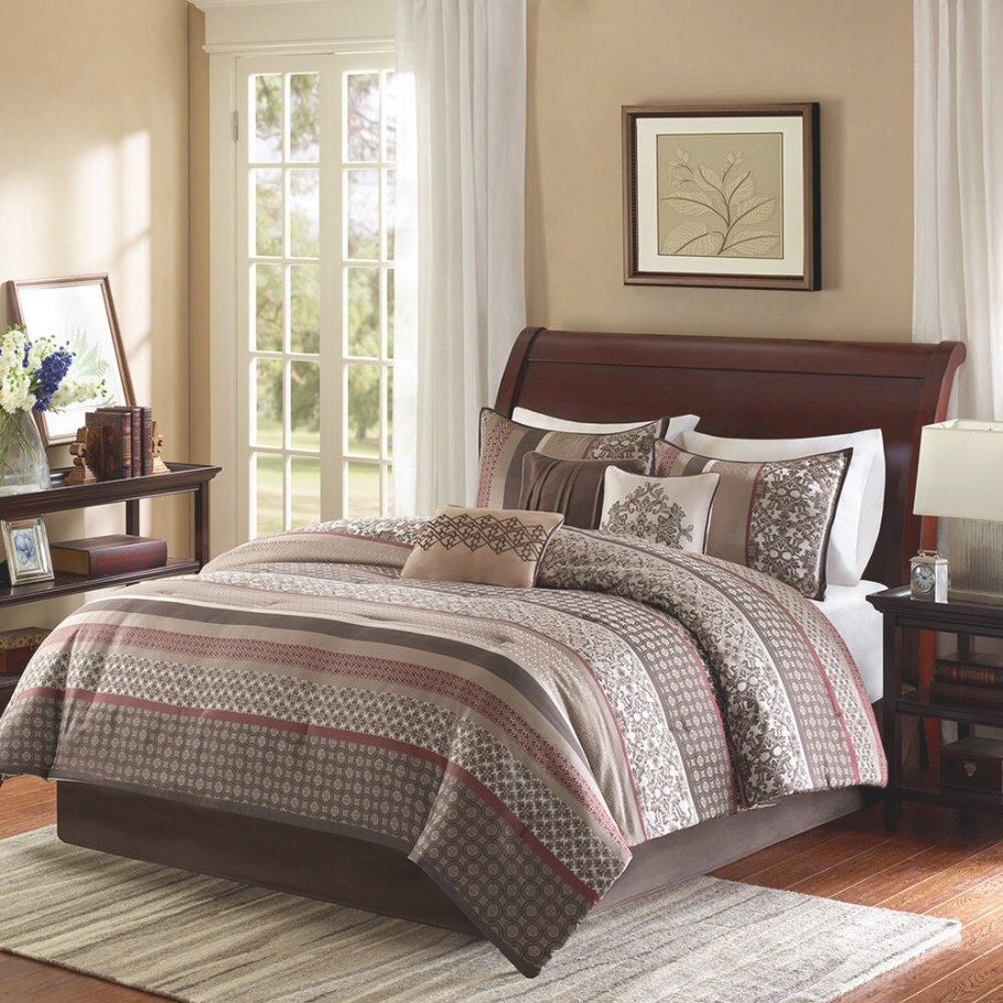 Beautiful Cozy Modern Red Brown Grey Taupe Burgundy Stripe intended for Grey And Tan Bedroom