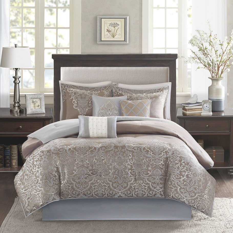 Beautiful Luxurious Elegant Blue Grey Taupe Silver Gold throughout Silver And Gold Bedroom