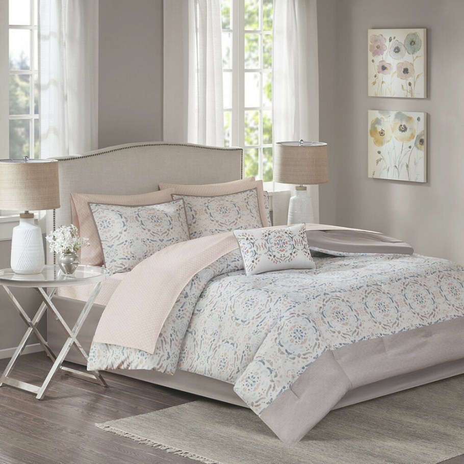 Beautiful Modern Chic Pink Blue Ivory White Grey Abstract with Silver And Gold Bedroom