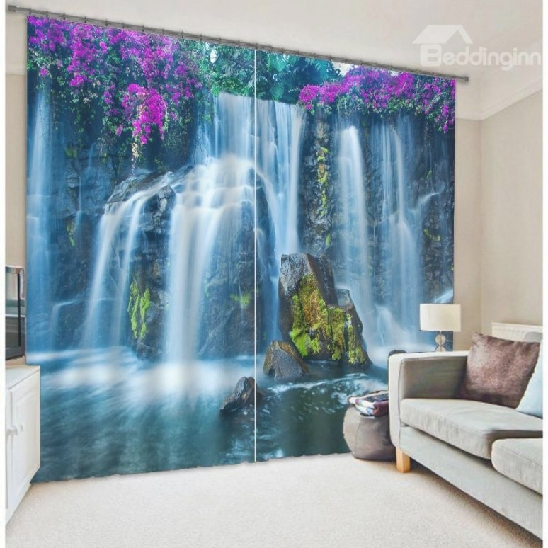 Beautiful Waterfall Scenery 3D Blackout Curtain On Sale throughout Where To Buy Curtains