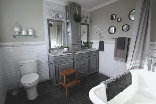 Before And After: Grey And White Traditional Bathroom for White And Grey Bathroom