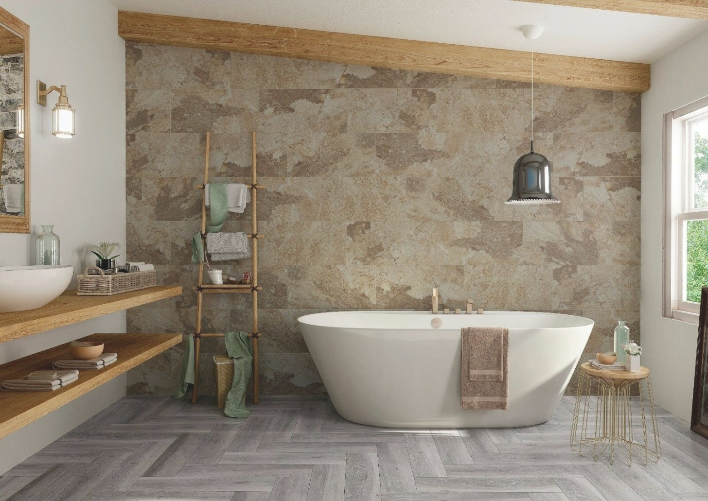 Bengal Beige Natural Stone/Slate Effect Porcelain Bathroom pertaining to Porcelain Tiles For Bathrooms