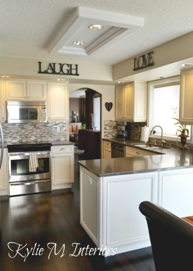 Benjamin-Moore-Grant-Beige-Recessed-Lighting-Where in White And Beige Kitchen