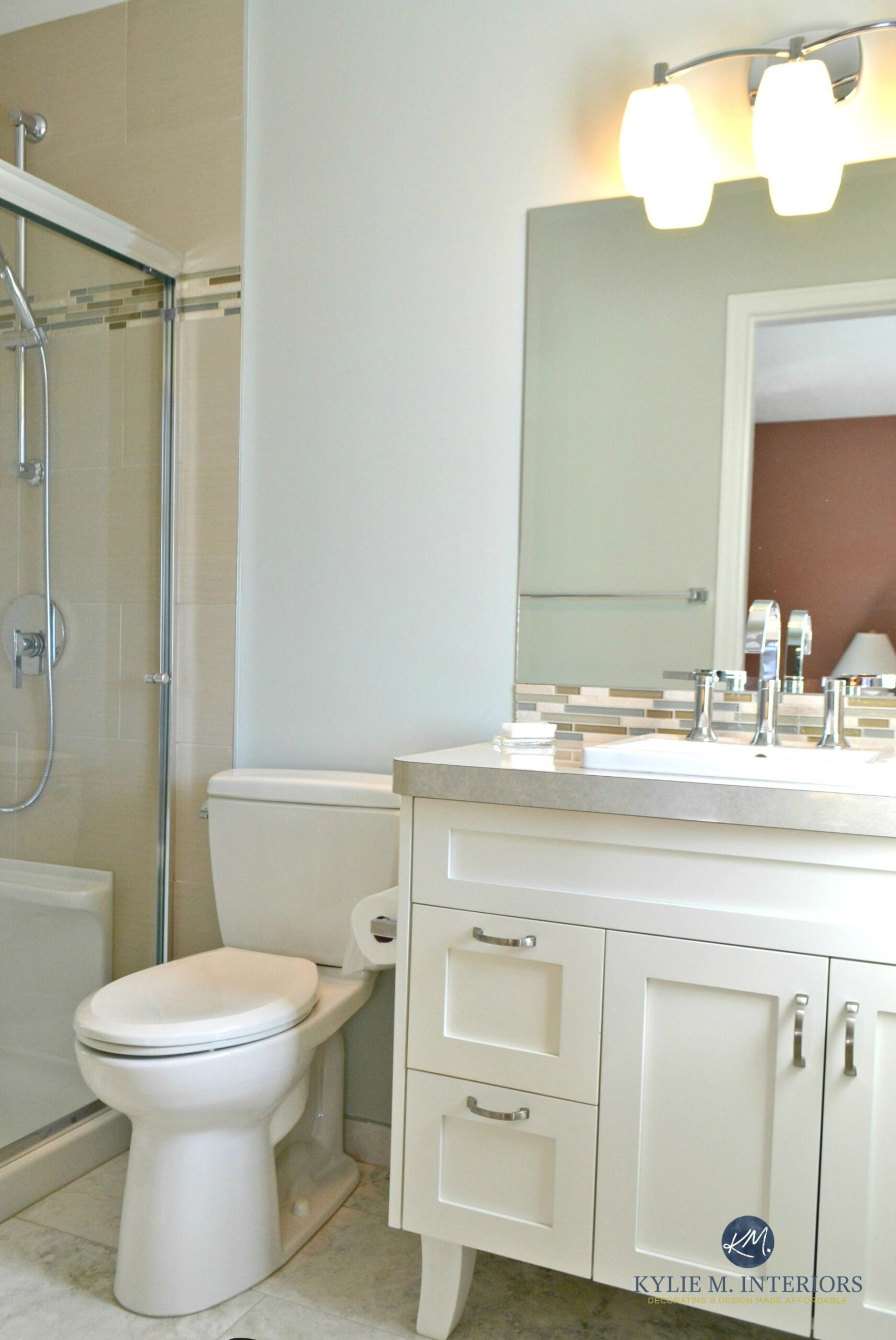 Benjamin Moore Gray Cashmere Helps This Small Bathroom throughout Green And Gray Bathroom