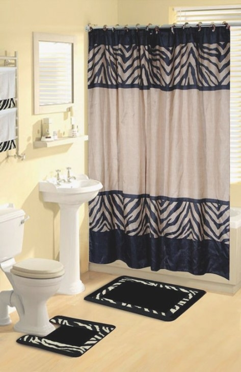 Black And Tan Zebra Print Shower Curtain Set. Super Cute within Black And Tan Bathroom