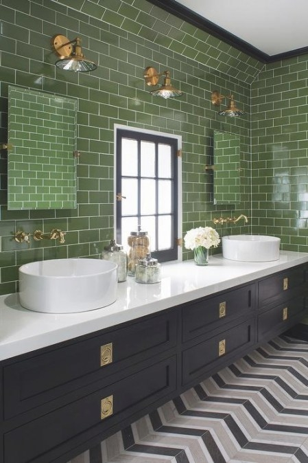 Black And White Bathroom With Green Subway Tiles pertaining to Green And Gray Bathroom