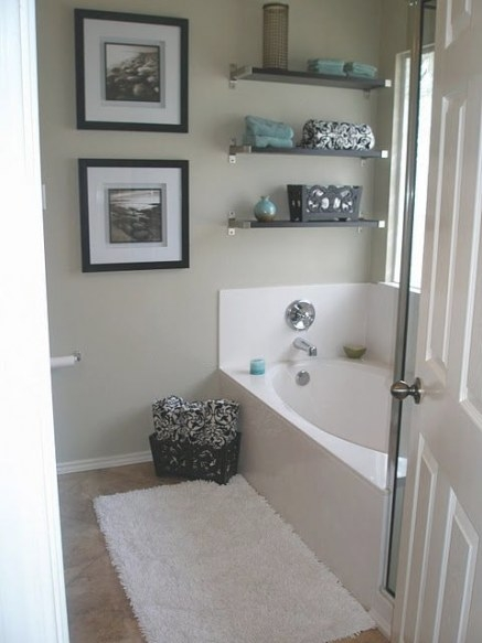 Black And White For Bathroom Love The Splash Of Turquoise intended for Turquoise And Brown Bathroom