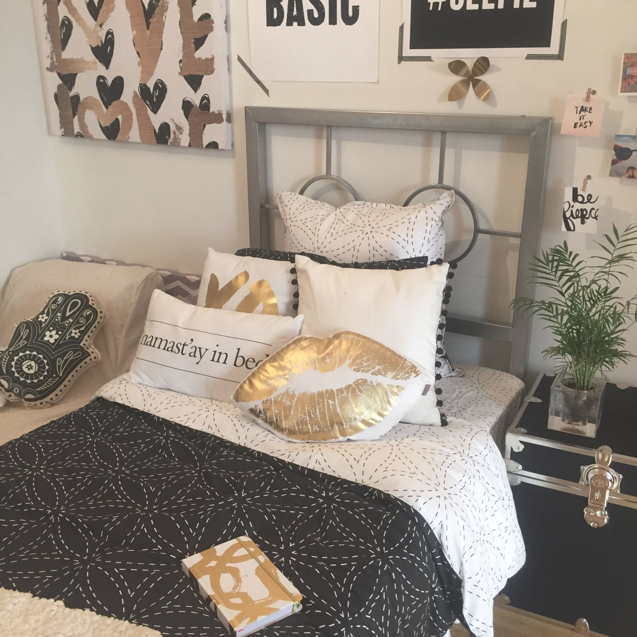 Black + Gold | Dormify | White Gold Bedroom, White regarding Silver And Gold Bedroom