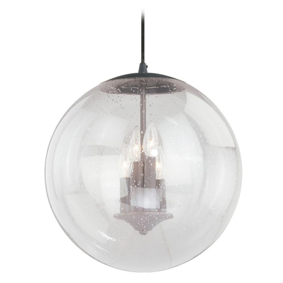 Black Iron Pendant Light Seeded Glass Globe Vaxcel pertaining to Seeded Glass Pendant Light