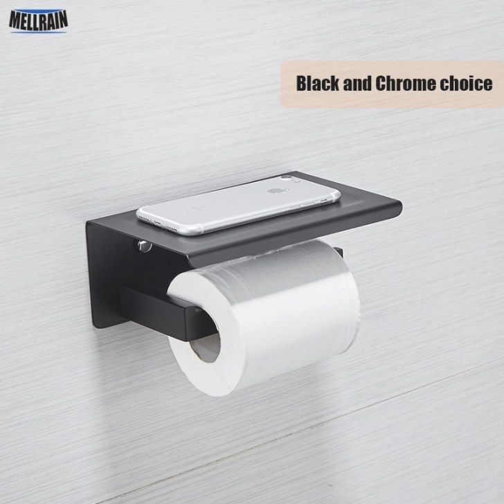 Black & Mirror Chrome Choice Toilet Paper Holder Top intended for Where To Put Toilet Paper Holder In Small Bathroom