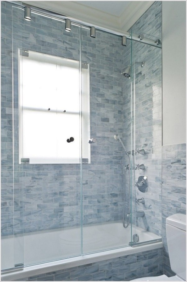 Blue Bathroom Wall Tile | Bathroom-Contemporary-New-York for Crown Moulding In Bathroom