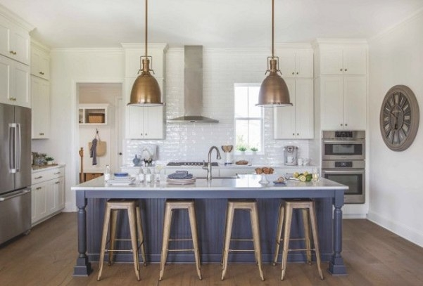 Blue Kitchen Island Paint Color Is Benjamin Moore Hc-154 intended for Benjamin Moore China White