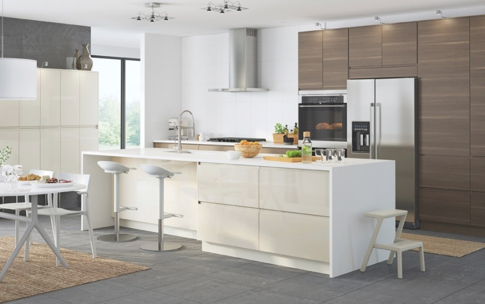 Bring Cool White And Warm Walnut Together - Ikea pertaining to White And Beige Kitchen