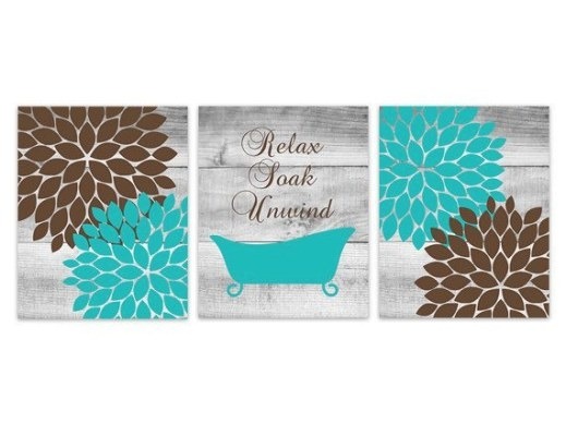 Brown And Teal Bathroom Canvas Decor, Relax Soak Unwind with Turquoise And Brown Bathroom