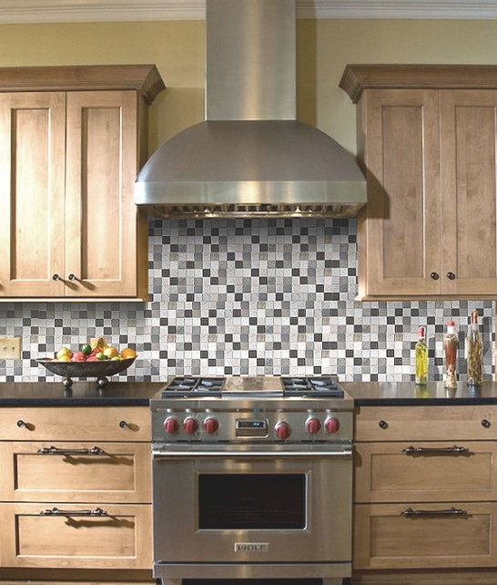 Brown Beige Gray Glass Slate Backsplash Tile For Wood pertaining to Do I Need Backsplash In Kitchen