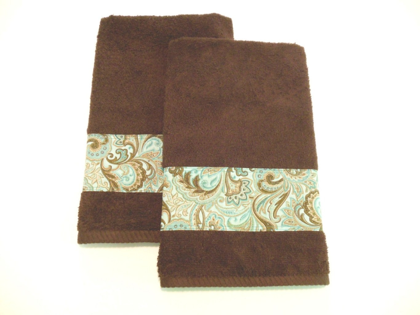 Brown Hand Towels Teal Turquoise Decorative Towels Bath Or in Turquoise And Brown Bathroom