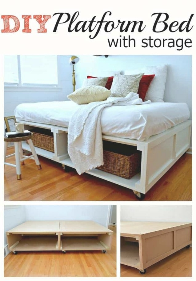 Building A Diy Platform Bed With Tons Of Storage And Wheels with Platform Bed With Storage