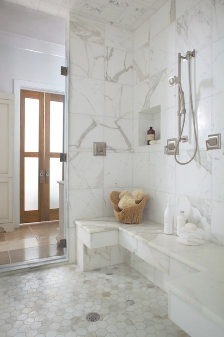 Calcutta Gold Hex Tiles - Transitional - Bathroom - Denman regarding White Marble Tile Bathroom