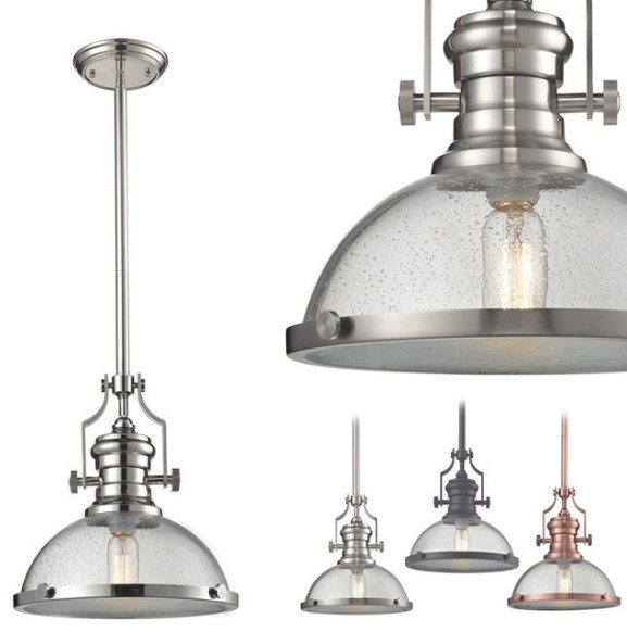 Chadwick Seeded Glass Pendant - Industrial - Pendant with Seeded Glass Pendant Light