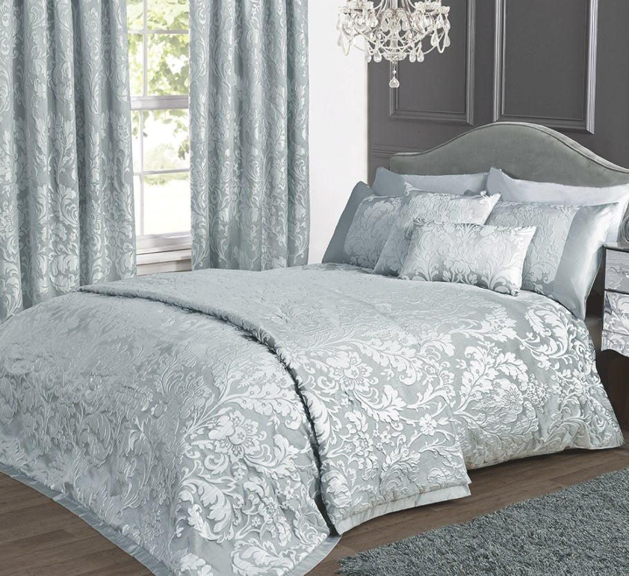 Charleston Duck Egg Cream Jacquard Bed Linen Collection for Cream And Blue Bedrooms