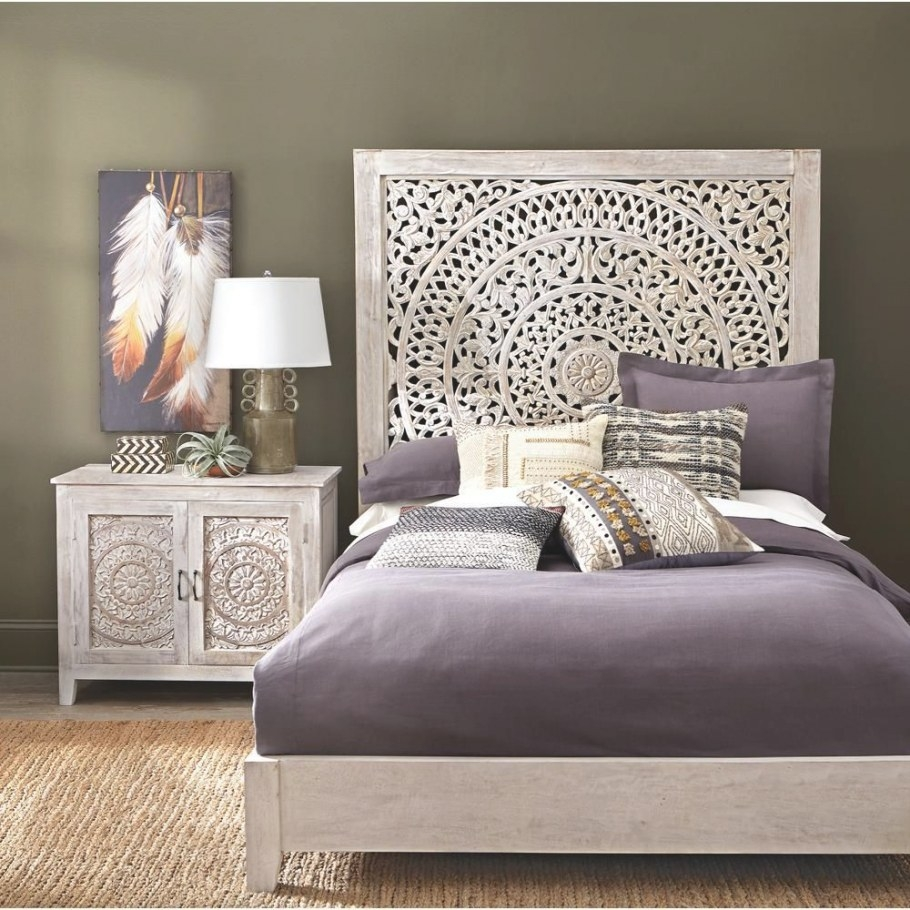 Chennai White Wash Queen Platform Bed, Whitewash regarding White And Wood Bedroom