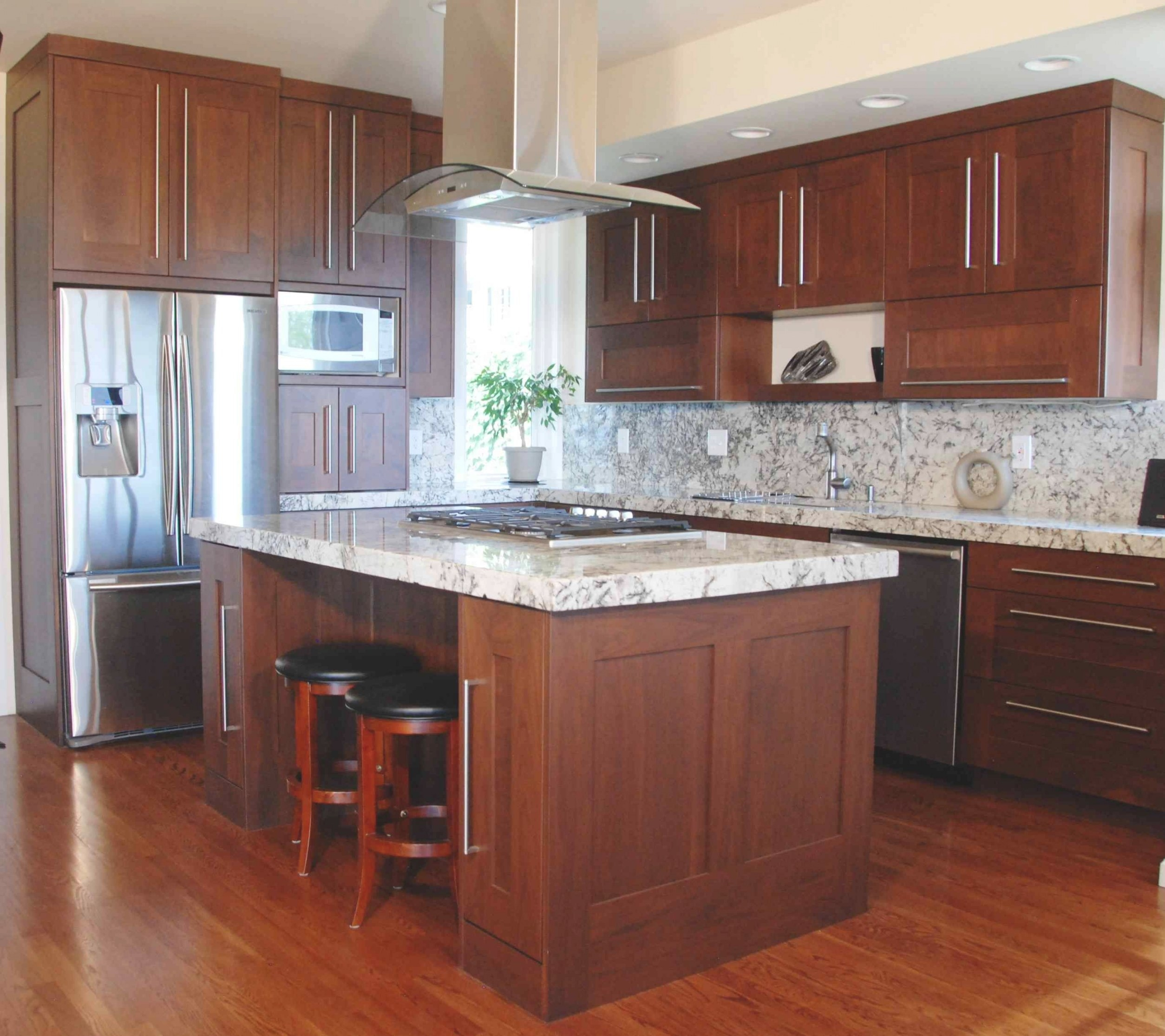 Cherry Wood Cabinets With White Granite Counters And White within Cherry Wood Cabinet Kitchens