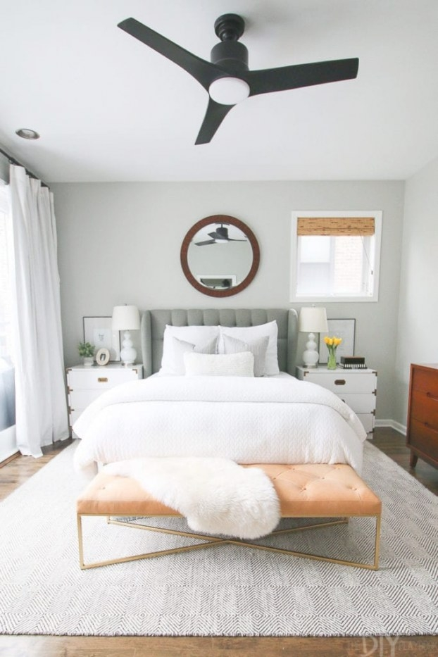 Chicago Condo Tour: Bright, Light, And Neutral | The Diy in Ceiling Fan In Bedroom