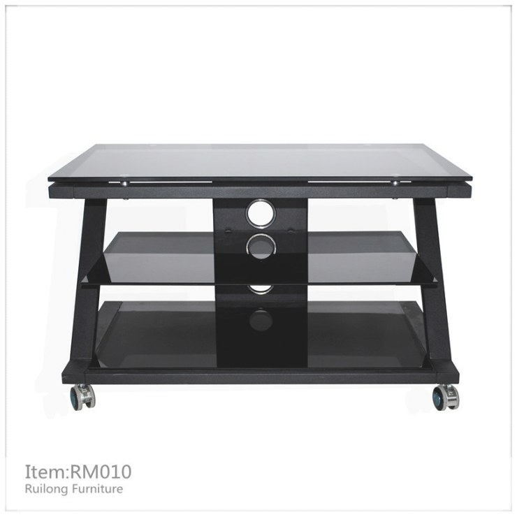 China Glass Tv Stand With Wheels (Rm010) - China Tv Stand inside Tv Stand On Wheels