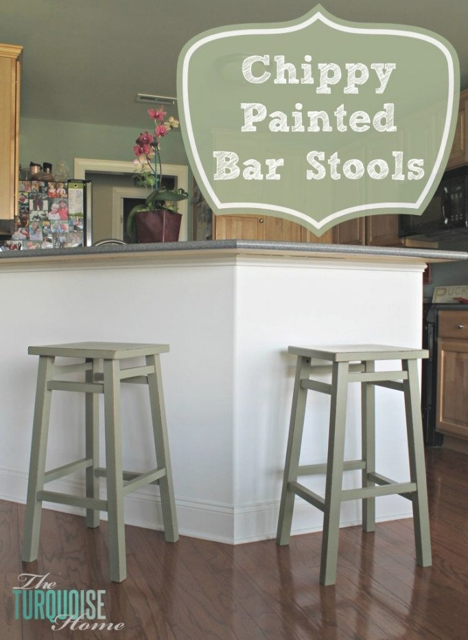 Chippy Painted Bar Stools | The Turquoise Home throughout Turquoise Bar Stools Kitchen