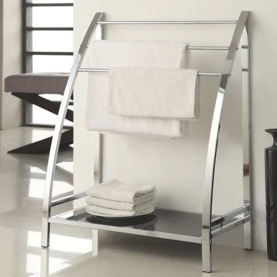 Chrome Finish Towel Bathroom Rack Stand Glass Shelf - Free with regard to Towel Racks For Small Bathrooms